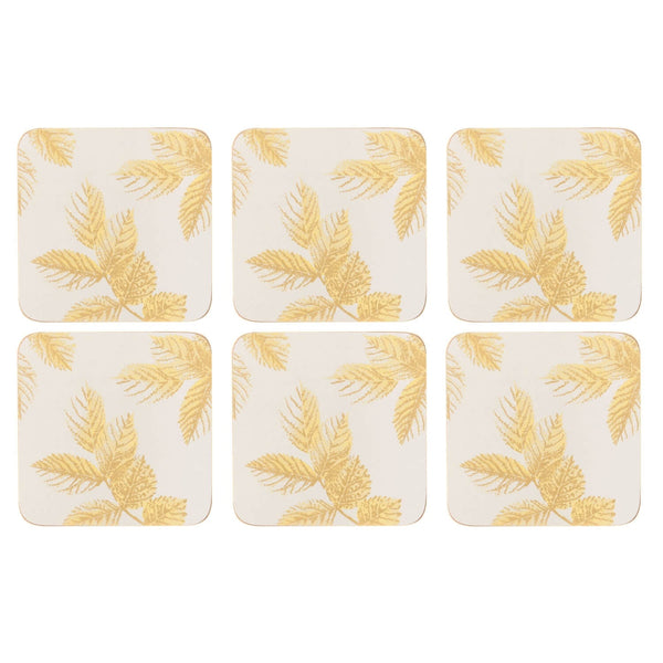 Sara Miller London Etched Leaves Light Grey Coasters - Set of 6