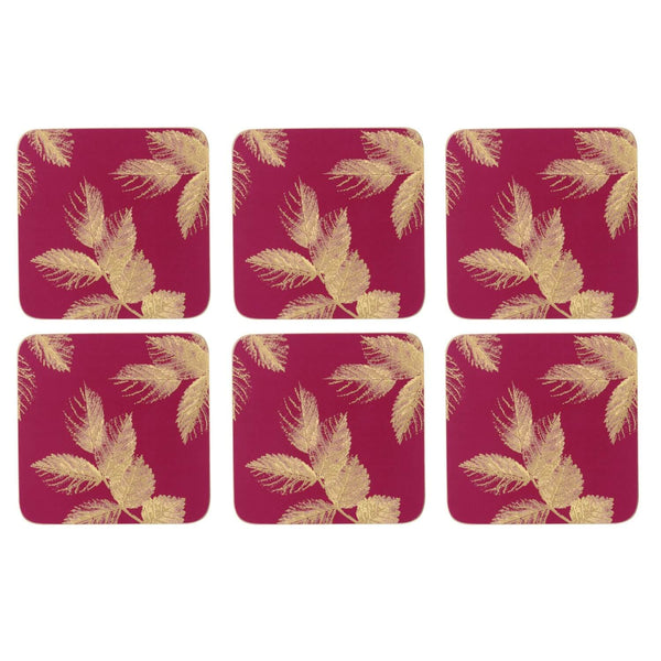 Sara Miller London Etched Leaves Pink Coasters - Set of 6