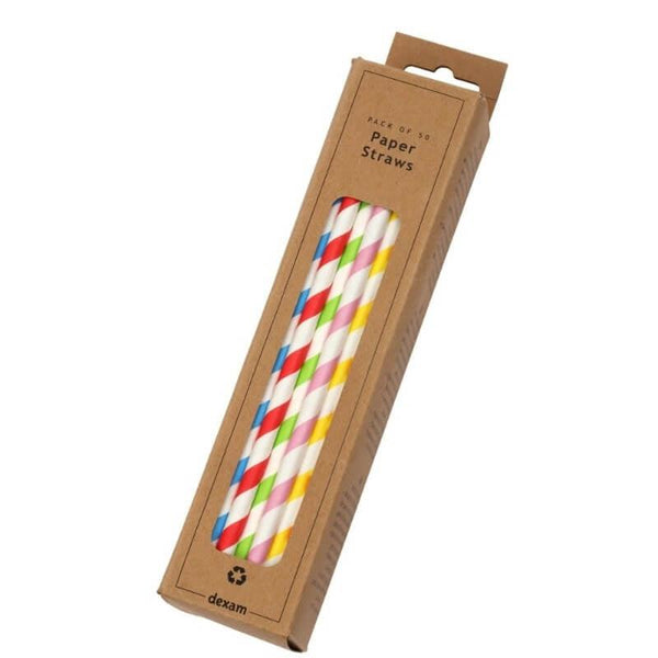 Dexam Striped Paper Straws - Pack of 50