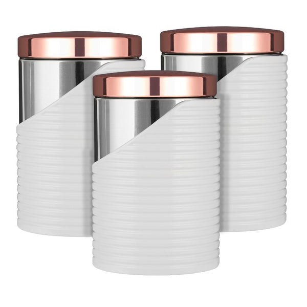 Tower Linear Rose Gold 3-Piece Canister Set - White