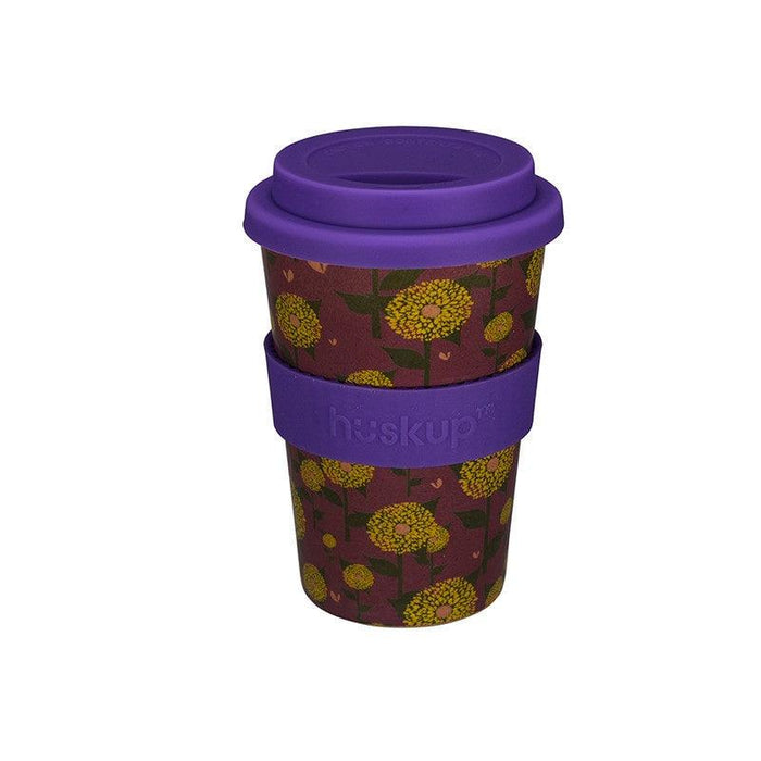 Huskup Floral 400ml Travel Mug - Purple Sunflower