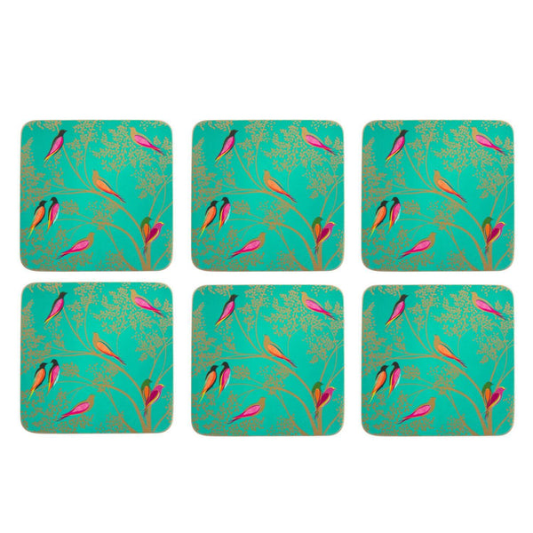 Sara Miller London Chelsea Green Birds Coasters - Set of 6