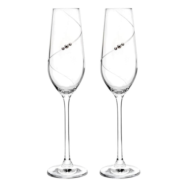 Portmeirion Auris Crystal Champagne Flute Glasses - Set of 2