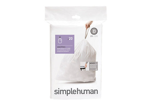 Simplehuman 20 Pack Code D 20 Litre Custom Fit Can Liners