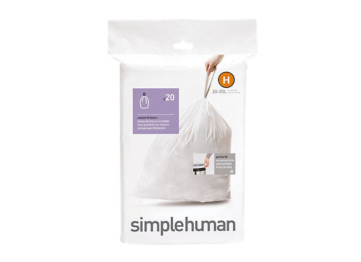 Simplehuman Code H Custom Fit Bin Liners - Pack of 20
