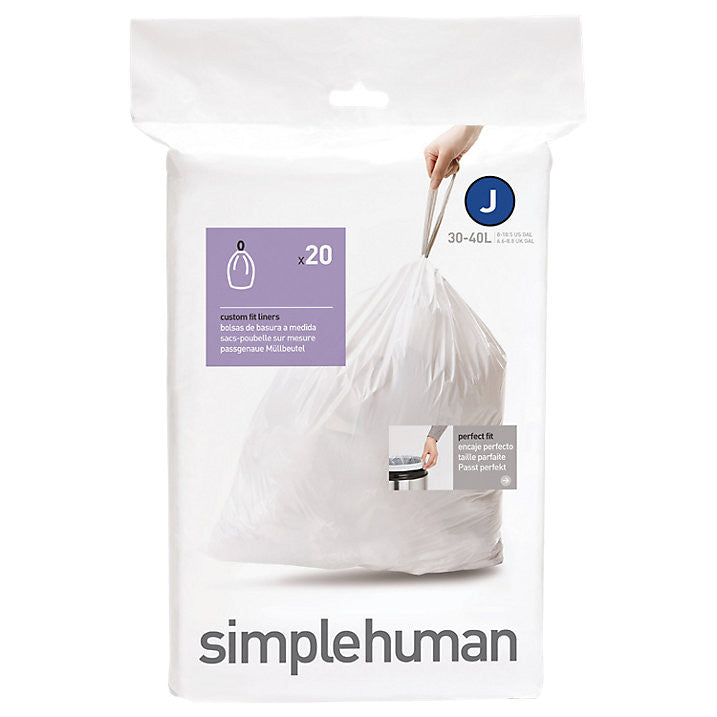 Simplehuman 20 Pack Code J 30-45 Litre Custom Fit Can Liners