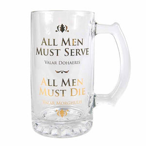 GL01GT02 Game of Thrones All Men Must Die Glass Tankard - Front