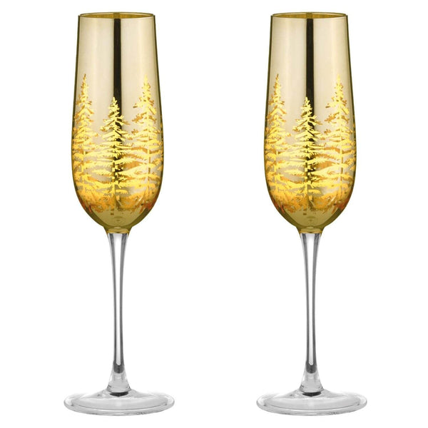 Artland Alpine Flute Glasses Gold - Set of 2