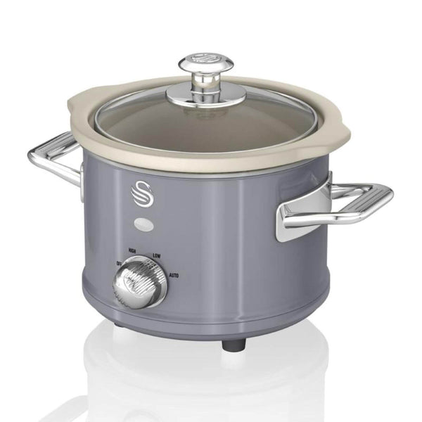 Swan Retro Grey Slow Cooker - 1.5 Litre