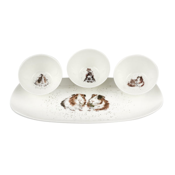 Royal Worcester Wrendale 3 Piece Bowl & Tray Set - Guinea Pig