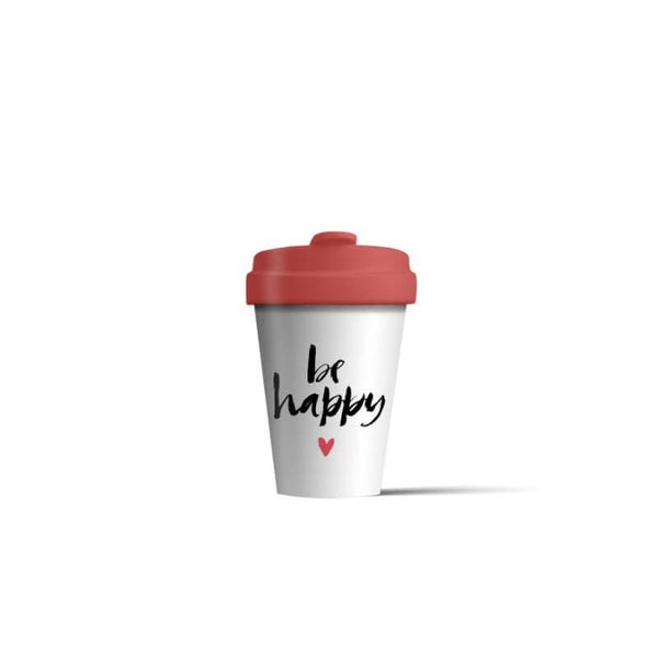 BambooCup 'Be Happy' Calligraphy Travel Mug - 400ml