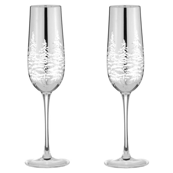 Artland Alpine Flute Glasses Silver - Set of 2