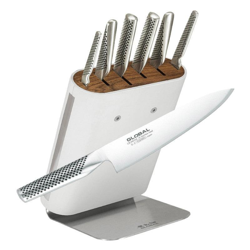 Global Hiro Shiro 7 Piece White Knife Block Set
