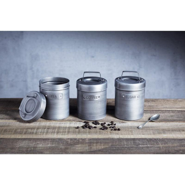 Industrial Kitchen Grey Metal Coffee Canister