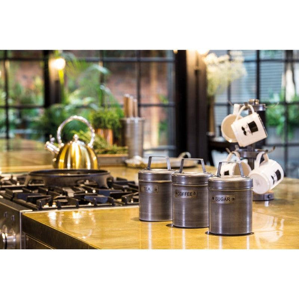 Industrial Kitchen Metal Tea Canister - Grey