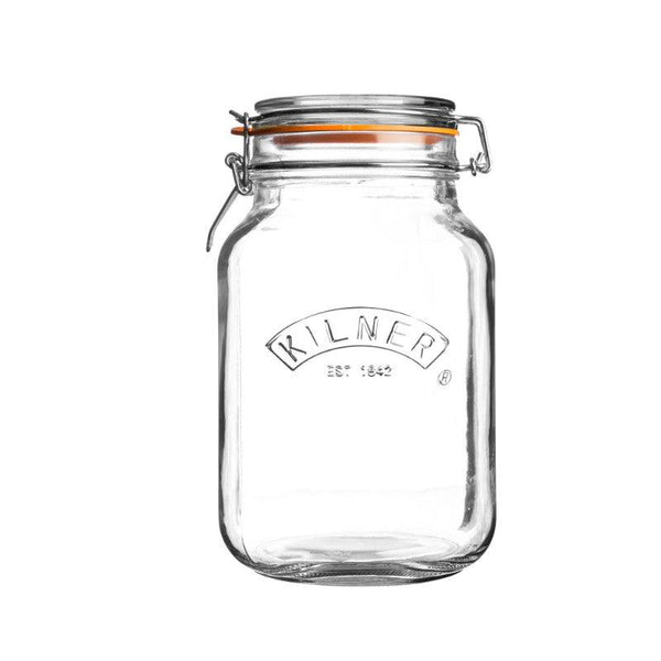 Kilner 1.5 Litre Square Glass Clip Top Storage Jar