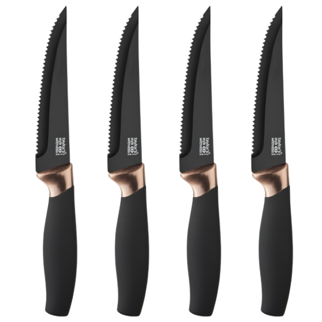 Taylor's Eye Witness 4 Piece Brooklyn Copper Steak Knife Set