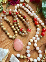 The Phoebe Mala:  Goddess of Radiance...Featuring Silkwood, Grey Moonstone, and Pink Aventurine