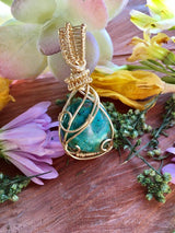 Tumbled Chrysocolla Mini Crystal Healing Pendant...Wrapped in Gold Wire