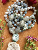 The Mala of Forest, Sea, Sky, and Cosmos...Labradorite, Tree Agate, Angelite, and Pacific Sur Agate