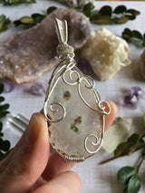 Large, Very Special Clear Amethyst Eyes Crystal Healing Pendant...Wrapped in Silver Wire