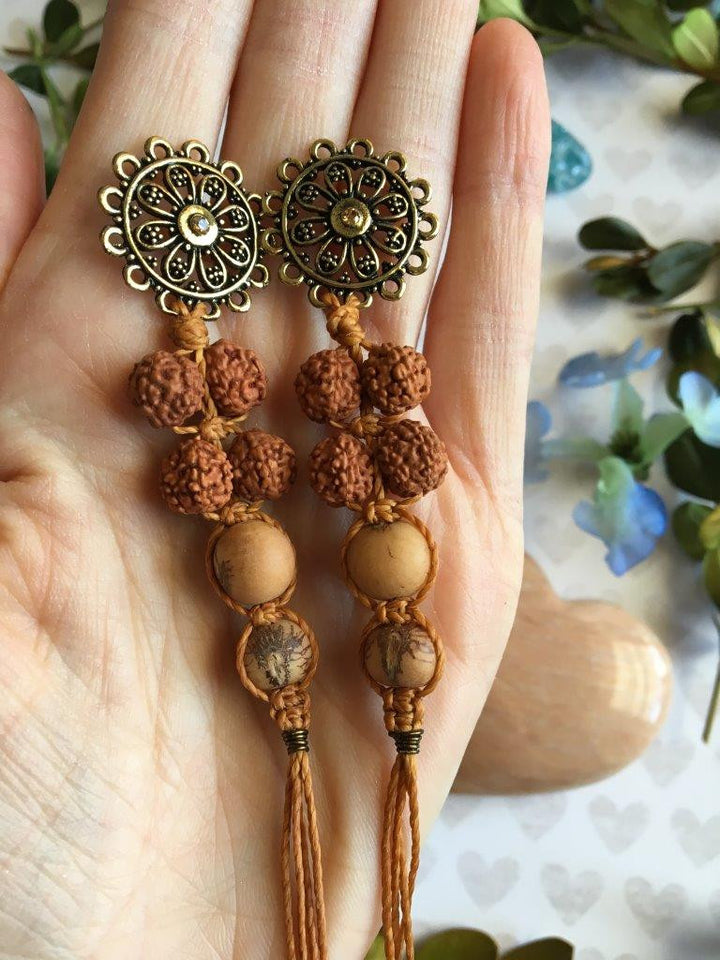 All About the Earth Long Style, Dangly Macrame Earrings...Acai and Rudraksha