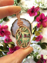 Ruby Fushsite Crystal Healing Pendant...Wrapped in Rose Gold