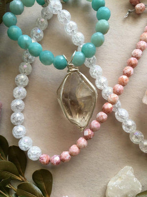Silver Wire Wrapped Raw Tibetan Quartz Point Matinee Necklace with Amazonite, White Crackle Quartz, and Pink Czech Glass Beads