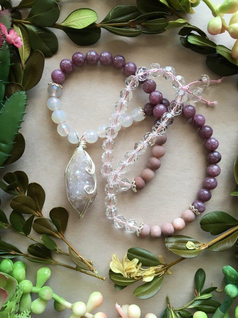 Silver Wire Wrapped Amethyst Spirit Quartz Matinee Necklace with Mystic Chalcedony, Lepidolite, Matte Rhodonite, and Sparkling Clear Crystal Beads