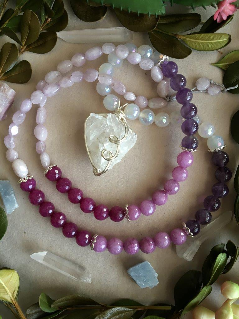 Silver Wire Wrapped Quartz Cluster Matinee Necklace with Mystic Chalcedony, Amethyst, Violet Jade, Fuschia Jade, and Kunzite
