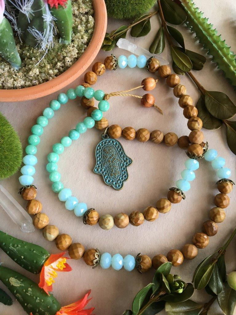 Antique Brass and Turquoise Hamsa Matinee Necklace with Faceted Wooden Jasper, Sparkling Sky Blue Crystal Beads, Sea Green Quartzite, and Bronze Accents