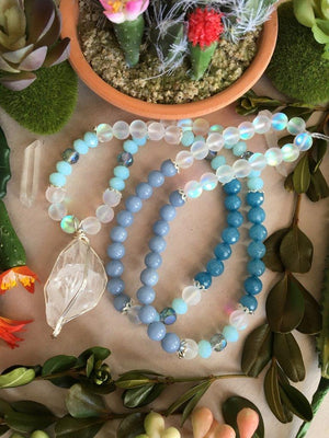 Silver Wire Wrapped Clear Quartz Matinee Necklace with Matte Opalite, Angelite, Dark Teal Jade, and Sparkling Crystal Beads