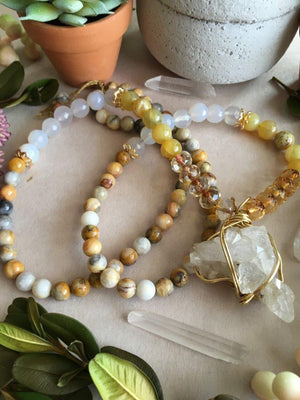 Gold Wire Wrapped Raw Quartz Cluster Matinee Necklace with Yellow Opal, Grey Agate, Crazy Lace Agate, and Amber Crystal Beads