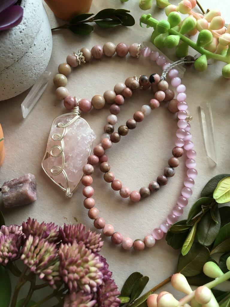 Silver Wire Wrapped Raw Rose Quartz Matinee Necklace with Creamy Pink Rhodonite, Pink Cats Eye, and More Colorful Rhodonite Beads