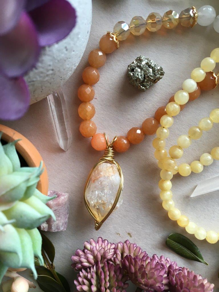 Gold Wire Wrapped Raw Citrine Matinee Necklace with Orange Aventurine, Cloudy Quartz, Yellow Agate, and Dazzling Crystal Beads