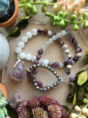 Silver Wire Wrapped Raw Amethyst Matinee Necklace with White Crackle Quartz, Flower Amethyst, Grey Agate, Lepidolite, and Faceted Hematite