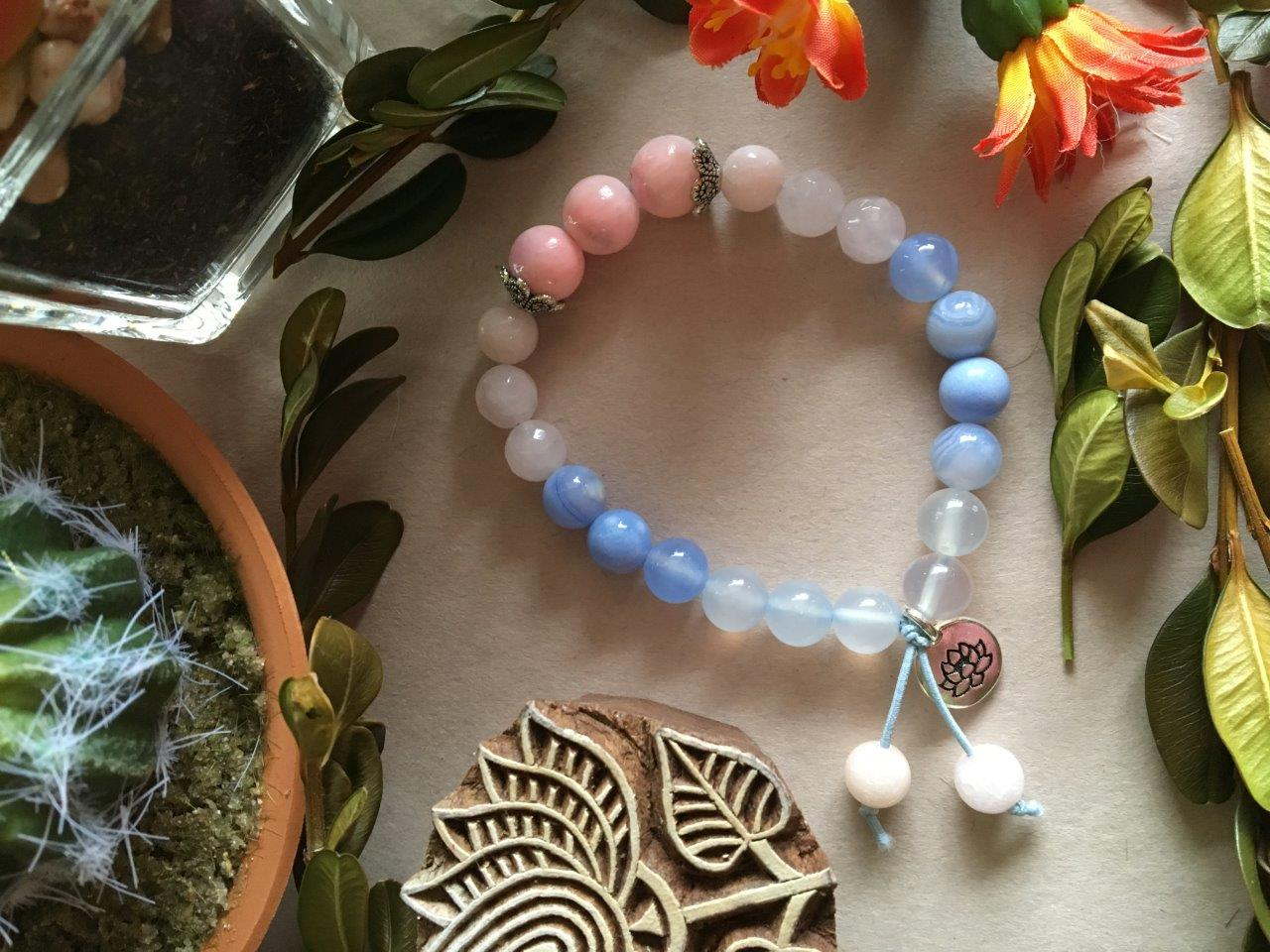 PInk Jade, Rose Quartz, and Blue Banded Agate Hippiciously Stretchy Bracelet with Silver Lotus Flower Charm