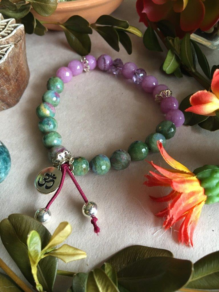 "Violet Jade and Ruby Fuschite Hippiciously Stretchy Bracelet with Silver ""OM"" Charm"