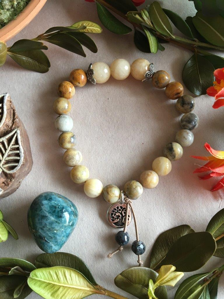 Crazy Lace Agate and Popcorn Jade Hippiciously Stretchy Bracelet with Silver Tree of LIfe Charm