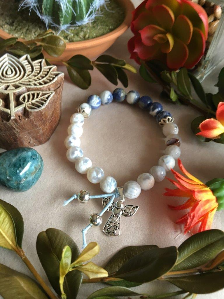 Sodalite and Pacific Sur Agate Hippiciously Stretchy Bracelet with Silver Angel Charm