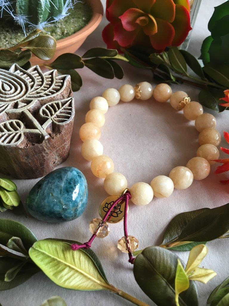 Chunky, Large Bead Popcorn Jade Hippiciously Stretchy Bracelet with Gold Lotus Flower Charm
