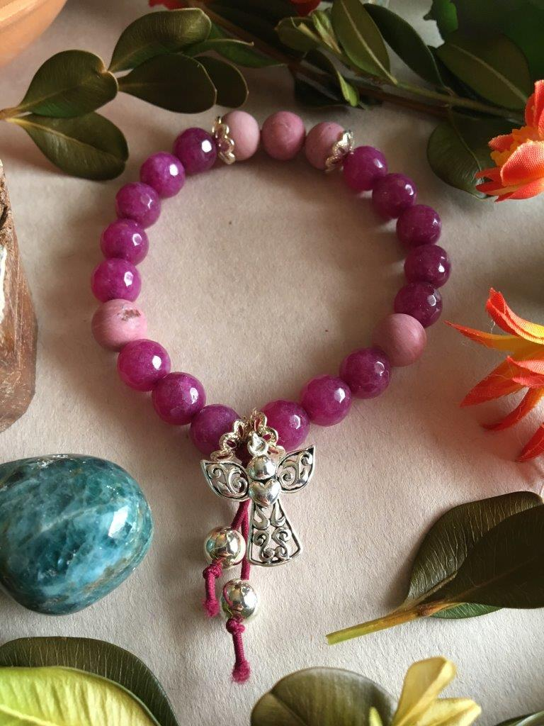Rhodonite and Fuschia Jade Hippiciously Stretchy Bracelet with Silver Angel Charm