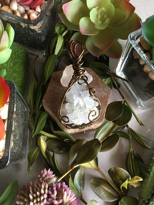 Arkansas Quartz Cluster Crystal Healing Pendant...Wrapped in Antique Bronze