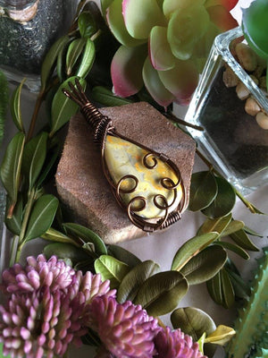 Bumble Bee Jasper Antique Bronze Wire Wrapped Cabochon Pendant