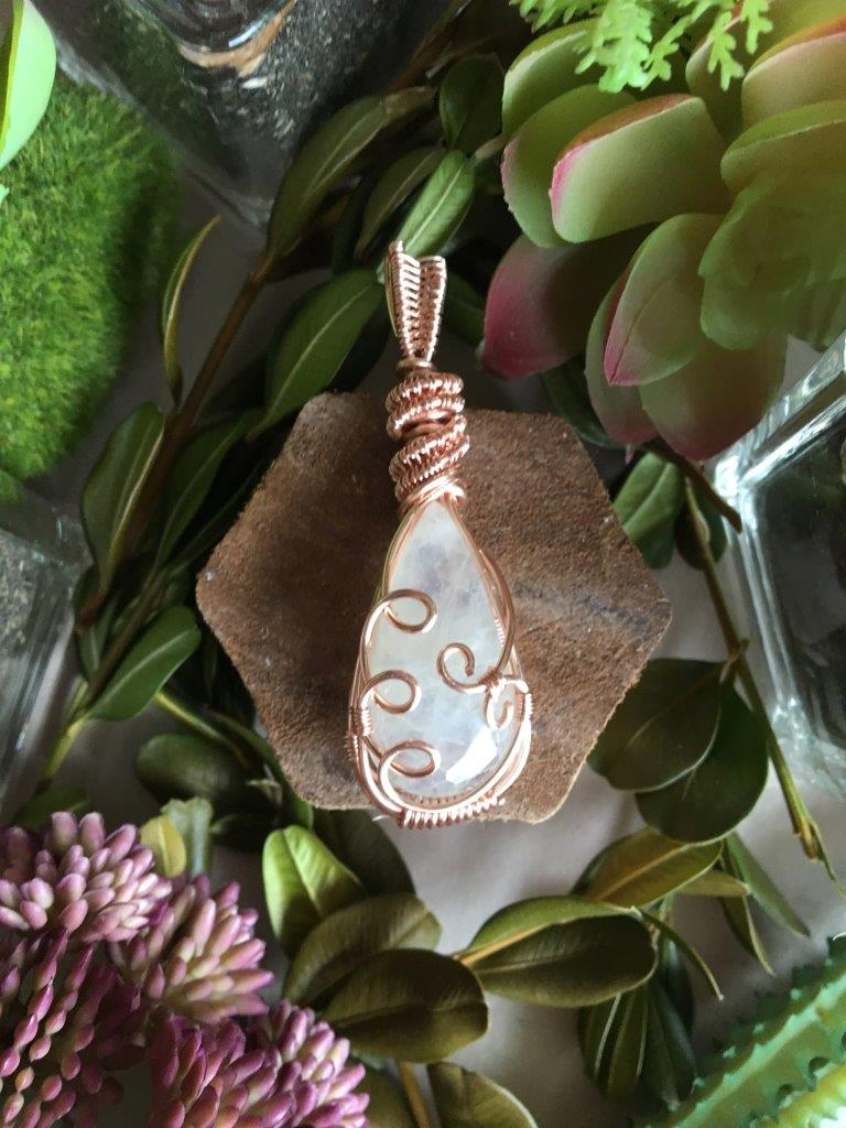 Creamy Rainbow Moonstone Crystal Healing Pendant...Wire Wrapped in Rose Gold