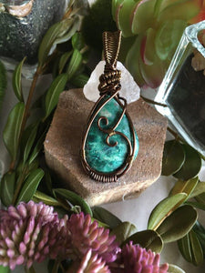 Chrysocolla Antique Bronze Wire Wrapped Cabochon Pendant