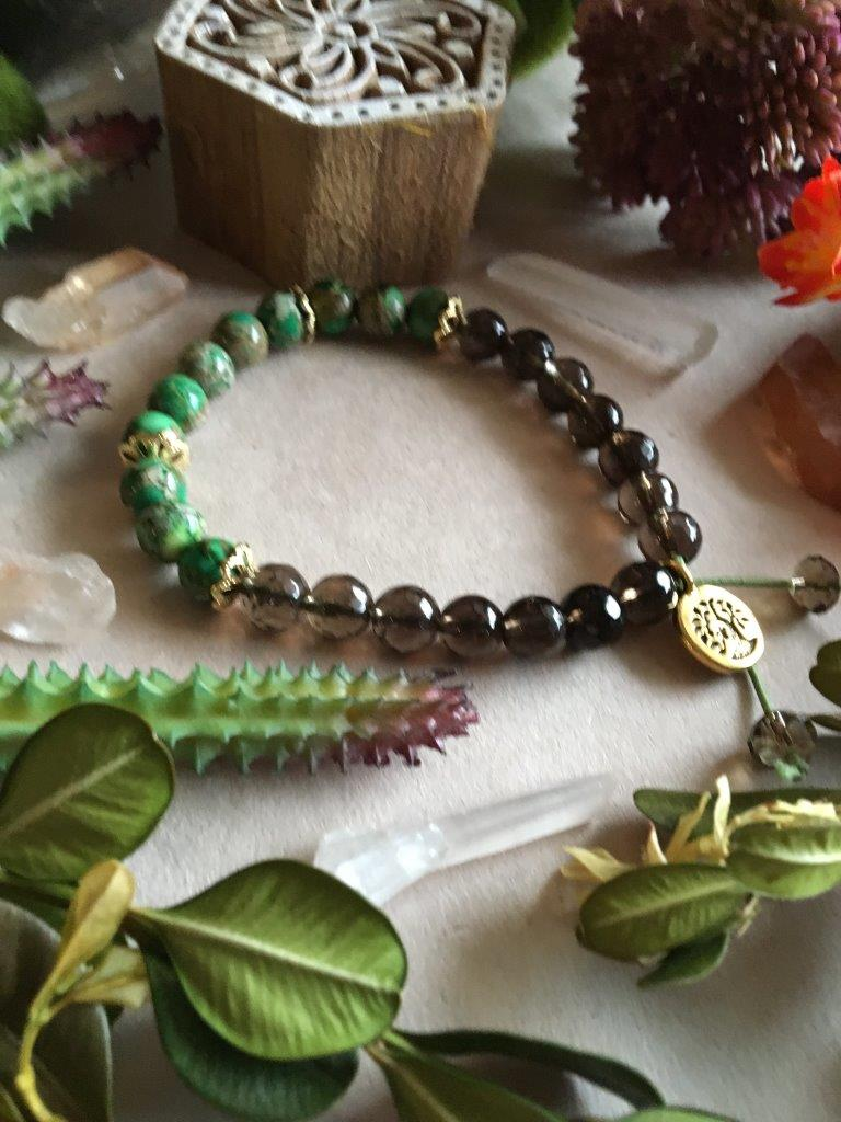 Emerald Green Imperial Jaser & Smokey Quartz Hippiciously Stretchy Bracelet with Gold Tree of Life Charm