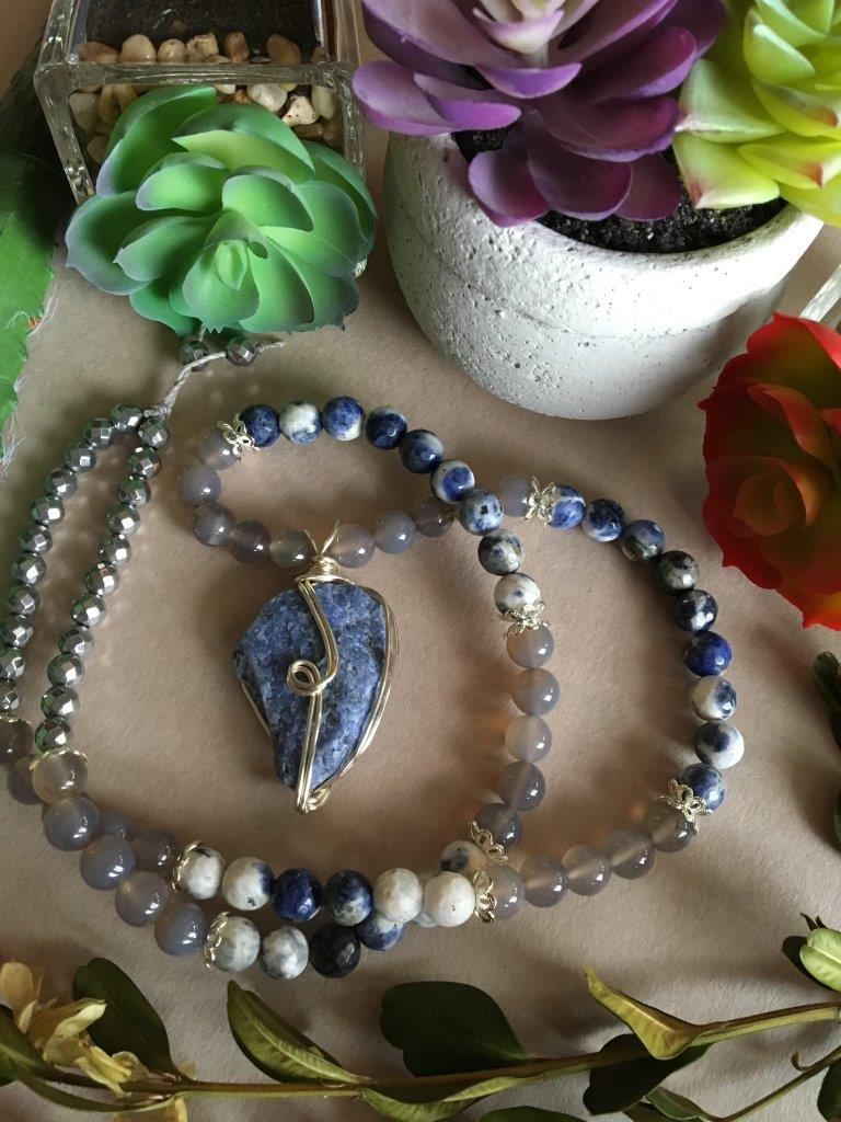 Silver Wire Wrapped Raw Sodalite Matinee Necklace with Faceted Sodalite Beads, Grey Agate, Hematite, and Silver Accents