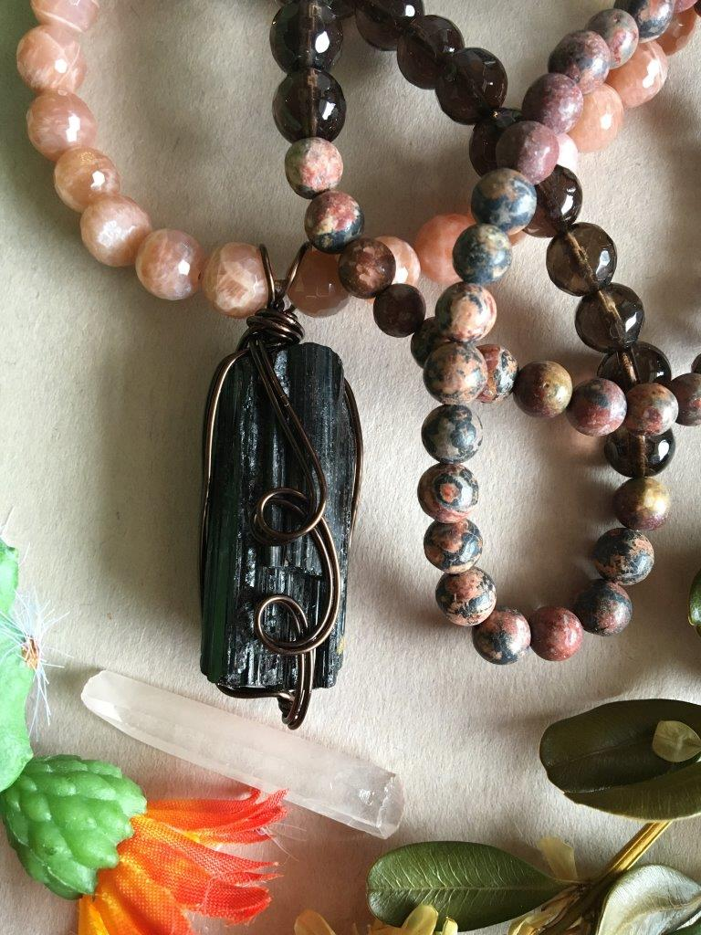 Dark Bronze Wire Wrapped Raw Black Tourmaline Matinee Necklace with Peach Moonstone, Smokey Quartz, and Leopardskin Jasper
