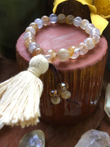 Healing Stack Stretchy Bracelet: Rutilated Quartz with Beige Cotton Tassel, Wrist Size 7-8